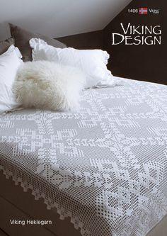 Katalog 1406 - Viking of Norway Afghan Crochet Patterns, Crochet Stitches, Knitting Patterns, Crochet Curtains, Crochet Pillow, Viking Designs, Filet Crochet, Yarn Crafts, Bed Spreads
