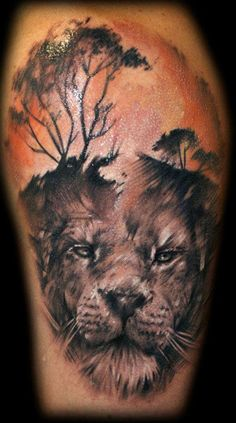 African theme by Tibor Galiger - 50 Examples of Lion Tattoo  <3 <3