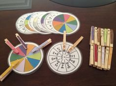 Dit is een individueel spel dat je als leerkracht op niveau van die leerling kan maken. Het kind krijgt een schijf met verschillende bewerkingen waarbij een oplossing telkens maar één keer voorkomt. Die leerling krijgt ook heel wat wasknijpers met cijfers op. De leerling plaatst de juiste wasknijper bij de juiste bewerking.  De leerling kan zichzelf controleren door de schijf om te draaien en te kijken naar de kleuren.