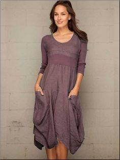 Linen dress - 3/4 sleeve 2 pockets