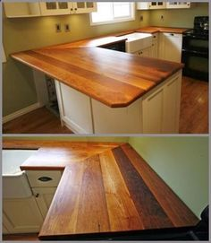 reclaimed wood countertops. i want this with the farmhouse sink in my kitchen. what kind of cabinets would you use though? just white?