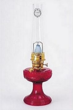 Lincoln Drape Ruby Red Glass Aladdin Kerosene Oil Lamp, Genuine Aladdin Brand Lighting Replacement in gorgeous Transparent Ruby Red glass, Solid Brass Parts.