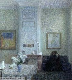 ◇ Artful Interiors ◇ paintings of beautiful rooms - Interior or The Lovers - Leon De Smet