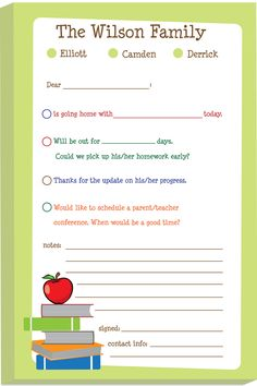 "Personalized ""excuse"" pads - this custom pad makes notifying your child's teacher quick and easy. Just check off the reason, sign and send it off to school."
