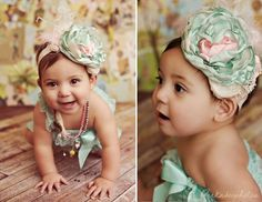 Parfait Pastel vintage shabby chic headband - Cozette Couture  6 months?