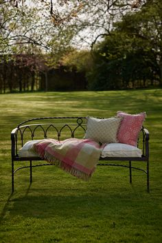 Looks stunning on a patio or lawn or team with our garden metal chairs and table for elegant, yet relaxed garden dining. Garden Bench Cushions, Metal Garden Benches, Metal Chairs, Outdoor Sofa, Outdoor Furniture, Outdoor Decor, Iron Bench, Garden Of Earthly Delights, Diy Cushion