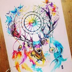 Dreamcatcher watercolor tattoo