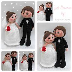 Kijk wat ik gevonden heb op Freubelweb.nl: een gratis haakpatroon van Amigurumi Askina door Petriek in het Nederlands vertaald om dit mooie bruidpaar te maken https://www.freubelweb.nl/freubel-zelf/gratis-haakpatroon-bruidspaar/