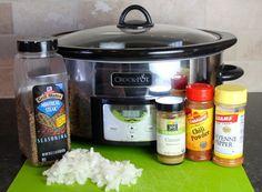 Crock Pot Skirt Steak: Ingredients:  (serves 3-4),  1 1/2 to 2 lbs. skirt steak, 1 yellow onion or white onion, chopped, Rub Ingredients: 2 tbsp. Montreal steak seasoning, 2 tsp. cumin, ¼ tsp. cayenne pepper, 2 tsp. chili powder.