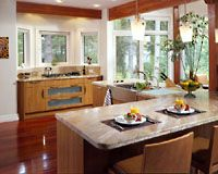Cozy Huggy Bear Kitchen in a Lindal Custom Home.