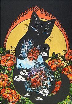 平成の招き猫100人展 Japanese Prints, Japanese Art, Trippy Cat, Asian Tattoos, Hippie Art, Human Art, Cat Tattoo, Psychedelic Art, Aesthetic Art