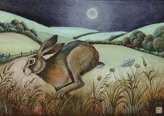 """Moonlit Flit"" - by Jemima Jameson Hare Images, Rabbit Art, Bunny Art, Woodland Creatures, Watercolor Animals, Whimsical Art, Animal Drawings, Sculpture, Pet Birds"