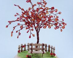 Maple Blossom Wire Sculpture Tree- Home Decoration / Desktop Business Holder - Made to order
