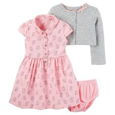 Shop sets. Dress set includes cardi to layer for warmth and diaper cover bloomer. Soft knit with allover print makes it a staple in her wardrobe!