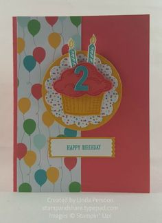 The Cherry on Top Designer Series Paper Stack and Sprinkles of Life stamp set are perfect for birthday cards.  Add the Little Numbers for the child's age.  They are excited about getting older!