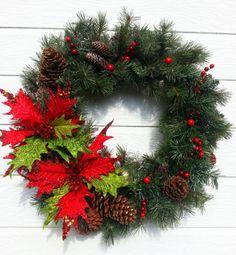 Artifical Pine Holiday Wreath Christmas by ShadesOfTheSeasons, $50.00