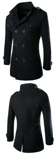 Turn-Down Collar Epaulet Design Double Breasted Long Sleeve Woolen Men's Peacoat Fashion Mode, Mens Fashion, Fashion Outfits, Sharp Dressed Man, Well Dressed, Style Masculin, Gentleman Style, Looks Cool, Swagg