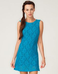 Super sweet sleeveless dress in delicate turquoise blue lace.