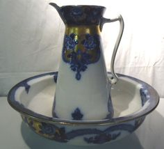 Flow Blue Bowl And Pitcher Madras