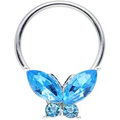Aqua Gem Tropical Butterfly Captive Ring | Body Candy Body Jewelry