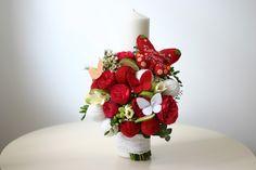 Flowers of Soul: Lumanari de botez Bouquet, Decorations, Ethnic Recipes, Sweet, Party, Candy, Bouquet Of Flowers, Dekoration, Bouquets