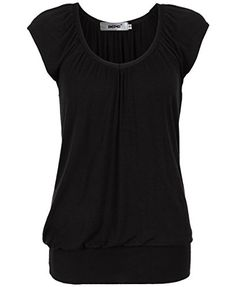 Bepei Women Hip Length V Neck Top Solid Short Sleeve T Shirt Tunic Blouse