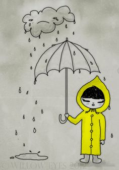 "SALE 30% DISCOUNT Umbrella Girl 7""x10"" Wall Art Print - Little Girl standing under a sad rain cloud by Willow Eyes on Etsy, £6.95"