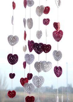 crochet heart mobile