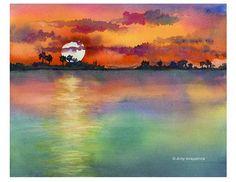 watercolor sunset ocean - Google Search                                                                                                                                                                                 More