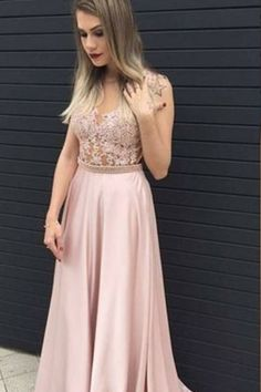 Pink chiffon round neck see-through pearl beading floor length evening dresses