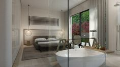 the neutral bedroom with a view outdoor and contemporary bathroom with beauty white bathtub design with glass divider