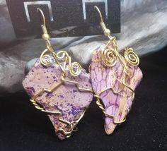 Jasper Gemstone Dangle Earrings  Gold Wire Wrapped Hook