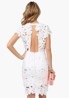 White Short Sleeve Floral Crochet Bodycon Dress