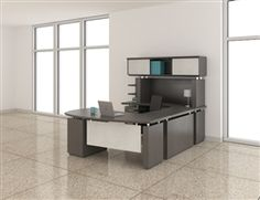 Mayline U shaped Sterling executive office desk configuration with textured driftwood finish and opaque acrylic accents. Available with free shipping at OfficeFurnitureDeals.com.