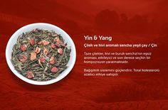 Yin & Yang Çilek ve kivi aromalı sencha yeşil çay / Çin  Taze çilekler, kivi ve buruk sencha'nın eşsiz aroması, etkileyici ve son derece seçkin bir kompozisyon yaratmaktadır. Bağışıklık sistemini güçlendirir. Total kolesterolü azaltıcı etkiye sahiptir.