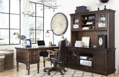 Porter - Storage Leg Desk, Credenza and Large Hutch, Corner Table and Office Chair with Casters.