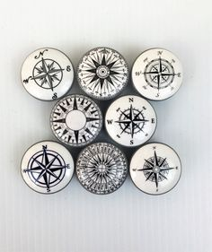 Set of 8 Black and White Compass  Cabinet Knobs