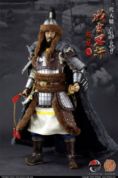 Action Figure Perfeita do Imperador Mongol Genghis Khan em Escala Genghis Khan, Character Concept, Character Design, Chinese Armor, Armadura Medieval, Military Figures, Leather Armor, Viking Warrior, Vikings