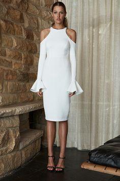 Shona Joy - Lori Open Shoulder Bodycon Dress - White