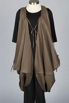 LA STAMPA - Long Tie Vest - Oil Green - Sale Items at Fawbush's