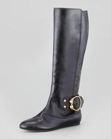 Alexander McQueen...Buckled Flat Leather Knee Boot, Black
