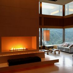 Indoor fireplace. Upper House hotel, Hong Kong.