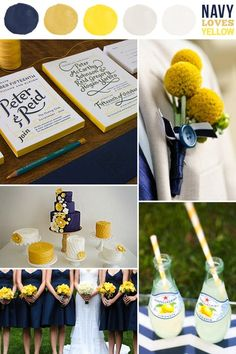 Navy and Yellow Wedding inspiration...@Elizabeth Lockhart Lockhart Graser, those are the boutonierre flowers I tried to describe.