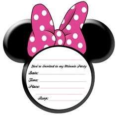 Minnie Mouse Party Ideas and Free Printables found here. A free Minnie Mouse ears printable invitation plus a full party stationery printable set. Mickey Minnie Mouse, Minnie Mouse Template, Theme Mickey, Mickey Mouse Parties, Mickey Party, Baby Mickey, Minnie Mouse Birthday Invitations, Minnie Mouse 1st Birthday, Minnie Mouse Baby Shower
