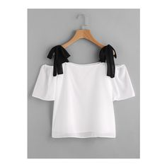 SheIn(sheinside) Contrast Tie Shoulder Chiffon Blouse ($14) ❤ liked on Polyvore featuring tops, blouses, black and white, sexy blouses, bow blouse, bow collar blouse, short sleeve blouse and embellished collar blouse
