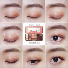 Gorgeous Makeup: Tips and Tricks With Eye Makeup and Eyeshadow – Makeup Design Ideas Korean Makeup Look, Asian Eye Makeup, Blue Eye Makeup, Eye Makeup Tips, Mac Makeup, Makeup Ideas, Peach Palette Looks, Asian Makeup Tutorials, Korean Make Up