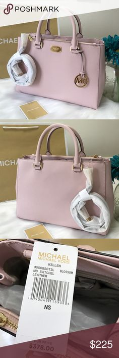 "•🆕 Michael Kors Kellen Satchel Md Blossom Leather Brand New 100% Authentic  MK Michael Kors KELLEN Leather Medium Satchel Handbag Shoulder Tote Bag. STYLE# : 35S6GSOT2L Material : Leather Retail: $378.00 Magnetic snap closure Dual top handles & detachable adjustable leather cross body strap Interior 1 zip compartment, 4 multifunctional pockets  & 1 large snap compartment Gold tone hardware & MK signature fabric lining Protective feet on the bottom 12.5""(L) X 9.5""(H) X 4""(D), top handle with…"