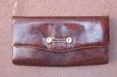 1940's Brown Snakeskin Clutch / 40's Brown Python by bazvintage