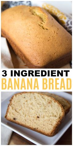 3 Ingredient Banana Bread is an easy one bowl sweet bread recipe your family will love. This is a cake mix based recipe that Bananas Yellow Cake Mix Eggs Cake Mix Banana Bread, Healthy Banana Bread, Chocolate Chip Banana Bread, One Banana Banana Bread, Frozen Banana Recipes, Banana Recipes Easy, Keto Cookies, 3 Ingredient Banana Bread Recipe, Galletas Keto