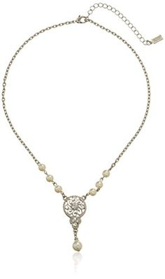 """1928 Bridal """"Amore"""" Simulated Pearl Necklace, 19"""" 1928 Jewelry http://www.amazon.com/dp/B002Q6YG42/ref=cm_sw_r_pi_dp_ObHvub00GKT50"""